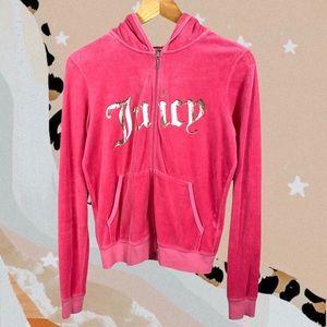 Juicy Couture Vintage Pink Velour Zip Up Hoodie L